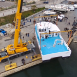 Mise à l'eau catamaran